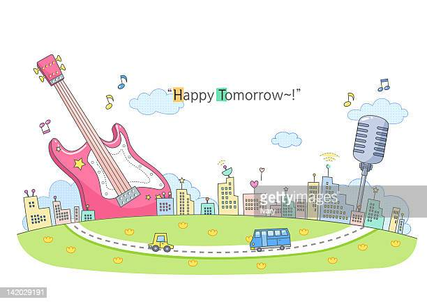 illustration of music concept - music style stock illustrations, clip art, cartoons, & icons