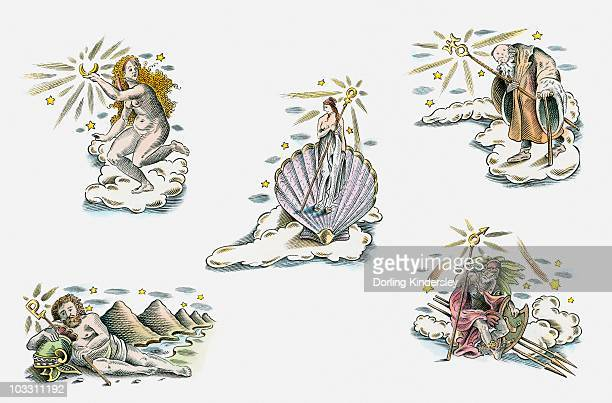 illustration of mythological characters associated with planets in astrology - venus roman goddess stock illustrations, clip art, cartoons, & icons