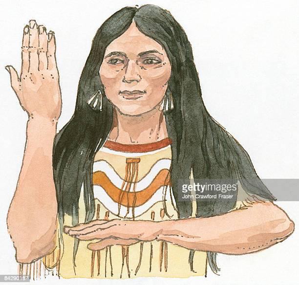 ilustraciones, imágenes clip art, dibujos animados e iconos de stock de illustration of native north american woman using hand and arm sign language for beauty - mujeres de mediana edad