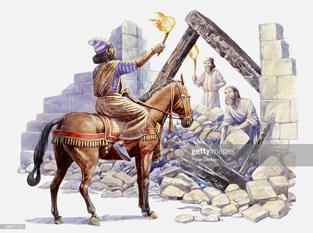 Illustration of Nehemiah riding though rubble and telling the Jews to rebuild Jersualem, Book of Nehemiah : stock illustration