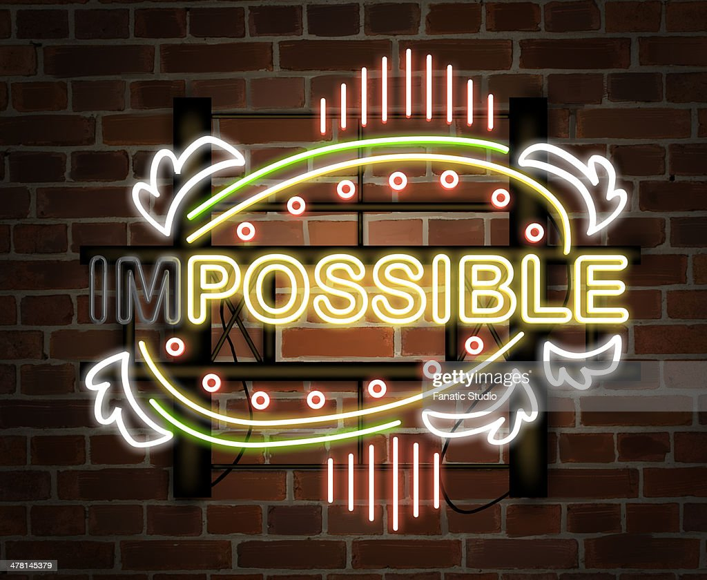 Illustration of neon light changing from impossible to possible : Stock Illustration