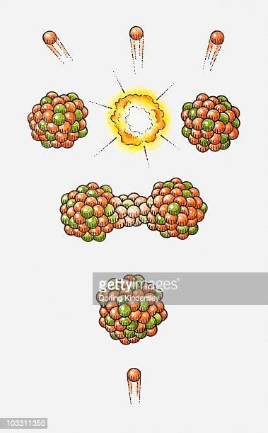 illustration of neutron hitting uranium-235 nucleus, nucleus becoming unstable and splitting, releasing energy and neutrons (nuclear fission) - uranium stock illustrations