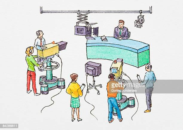 illustration of newscaster sitting in front of cameras in television studio - producer stock illustrations, clip art, cartoons, & icons