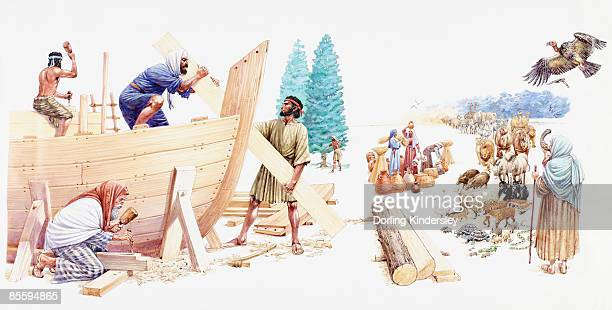 Illustration of Noah and his three sons Shem, Ham, and Japheth constructing the Ark as his wife calls chosen animals using shofar