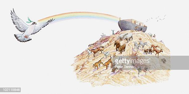 illustration of noah's ark with animals leaving the ark, dove carrying olive branch and rainbow appearing overhead, book of genesis - ノアの方舟点のイラスト素材/クリップアート素材/マンガ素材/アイコン素材