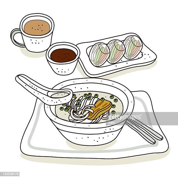 illustration of noodle soup - chopsticks stock illustrations, clip art, cartoons, & icons