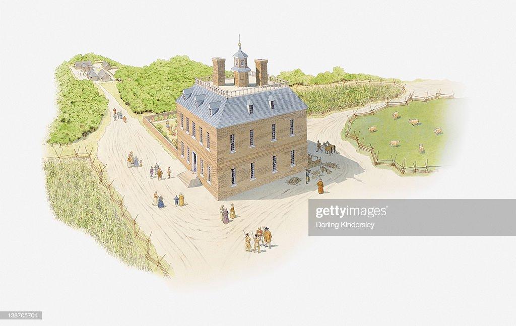Illustration of North American Colonial settlement : stock illustration