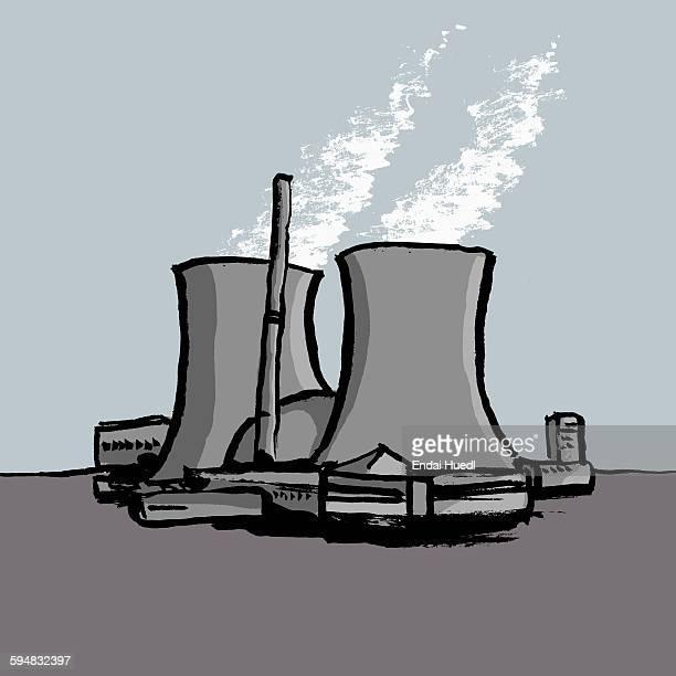 illustration of nuclear power station - 放出する点のイラスト素材/クリップアート素材/マンガ素材/アイコン素材