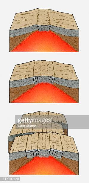 ilustraciones, imágenes clip art, dibujos animados e iconos de stock de illustration of oceanic plates moving apart and magma rising - corteza terrestre