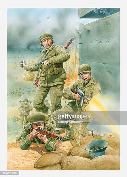 ilustrações, clipart, desenhos animados e ícones de illustration of of american soldiers firing rifles and throwing grenades next to german bunker during d day landing on omaha - normandy