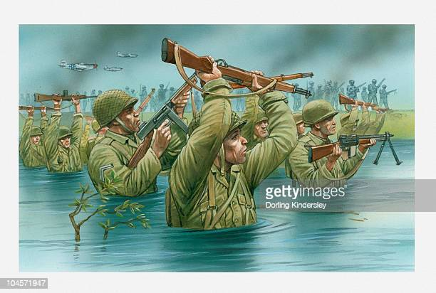 illustration of of american soldiers wading waist deep in water with rifles held aloft during d day landing on utah beach - d day stock illustrations