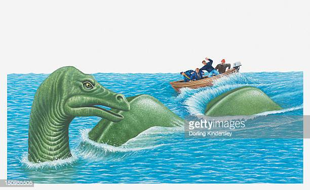 ilustraciones, imágenes clip art, dibujos animados e iconos de stock de illustration of of men in small boat as loch ness monster emerges out of the water - monstruo del lago ness