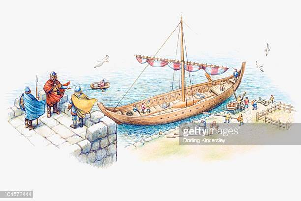 Illustration of one of Alfred the Great's ships moored on coastline to guard against Viking invasion