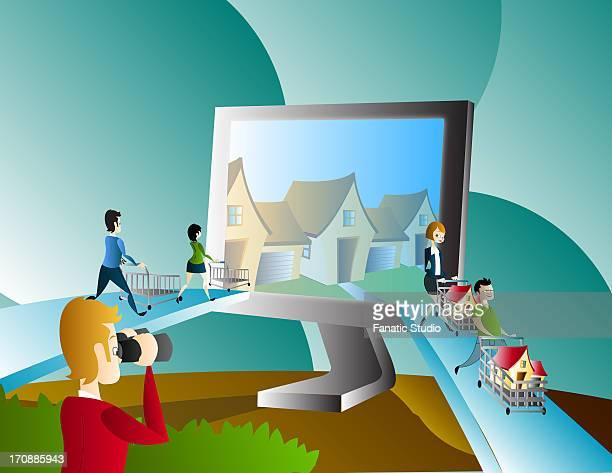 illustration of online property hunt - spending money stock illustrations, clip art, cartoons, & icons
