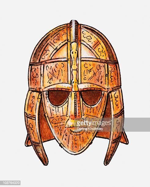illustration of ornate metal helmet - helmet visor stock illustrations, clip art, cartoons, & icons