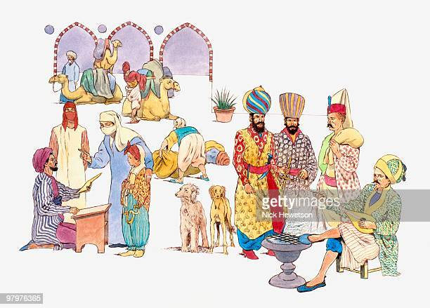 Illustration of Ottoman musician, Janissaries, merchant, woman with child talking to letter writer,