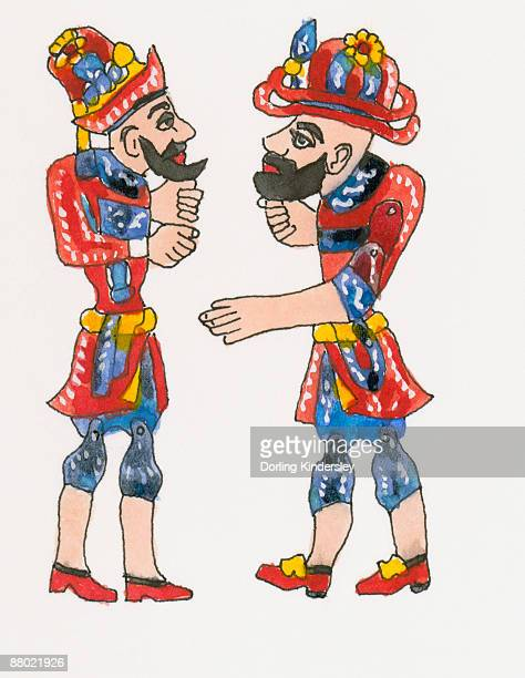 Illustration of Ottoman shadow puppets, Karagoz and Hacivat