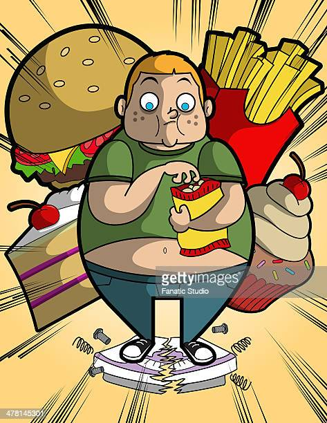 ilustraciones, imágenes clip art, dibujos animados e iconos de stock de illustration of overweight boy eating while standing on broken weighing scale - bulimia