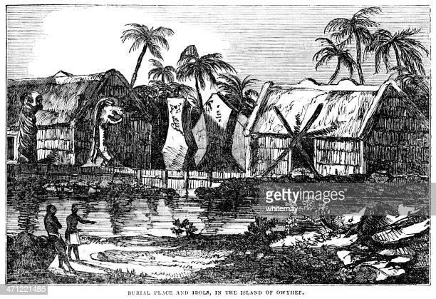 1833 illustration of owyhee (hawaii) - hawaiian ethnicity stock illustrations, clip art, cartoons, & icons