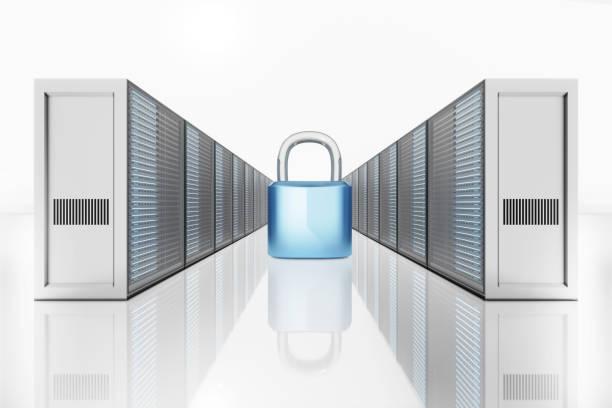 Illustration of padlock between network server tower