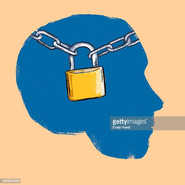 illustration of padlock with chains human head against beige background - lock stock illustrations