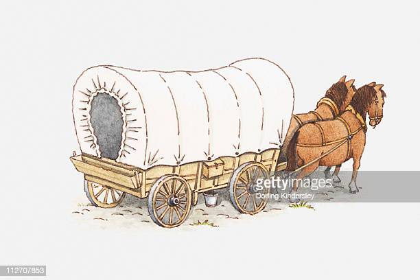 Illustration of pair of horses pulling a covered wagon