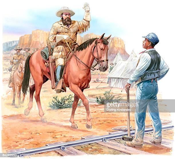 Illustration of paleontologist Othniel Marsh, on horseback, greeting Matthew Randall standing in front of him on railway track