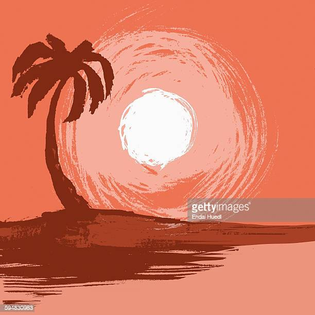illustration of palm tree by sea during sunset - sunset stock illustrations