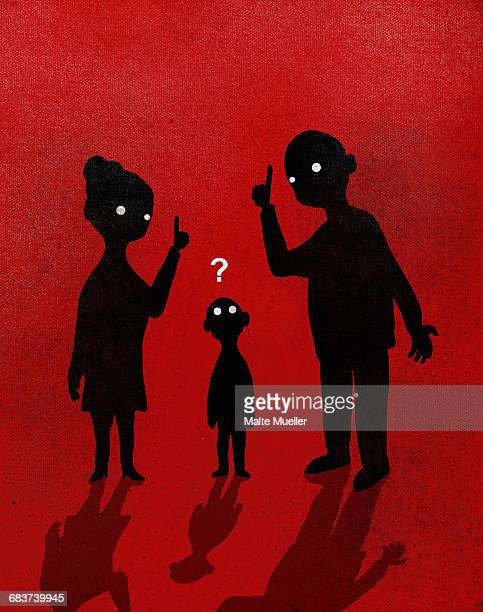 Illustration of parents explaining to boy against red background