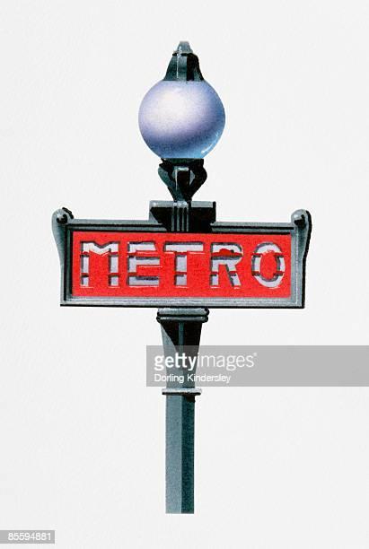 illustration of paris metro sign - paris metro sign stock illustrations