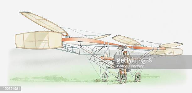 Illustration of Paul Cornu's first helicopter, 1907