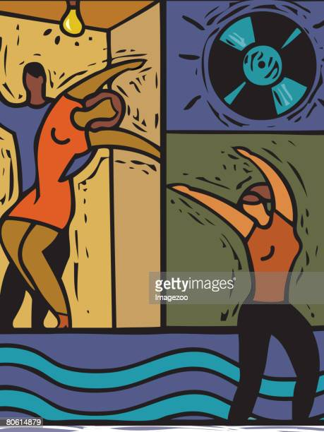 illustration of people dancing - swing dancing stock illustrations