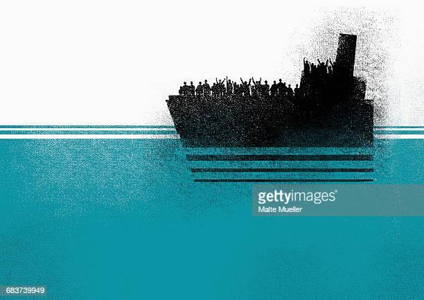 illustration of people in ship on sea - デジタル合成点のイラスト素材/クリップアート素材/マンガ素材/アイコン素材