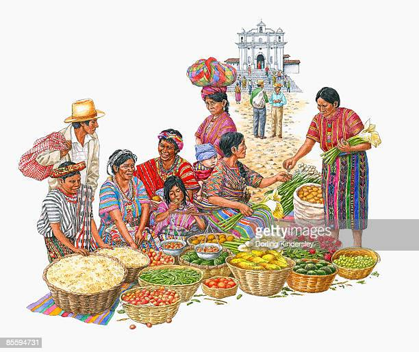 illustration of people selling fresh produce on market day in chichicastenango, guatemala, with church of santo tomas in background - guatemala stock illustrations, clip art, cartoons, & icons