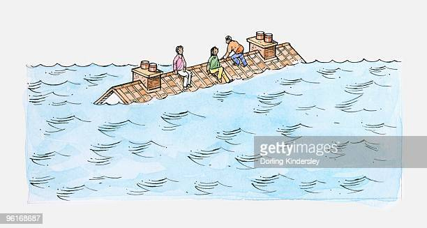 Illustration of people sitting on roof of house submerged in water caused by flood
