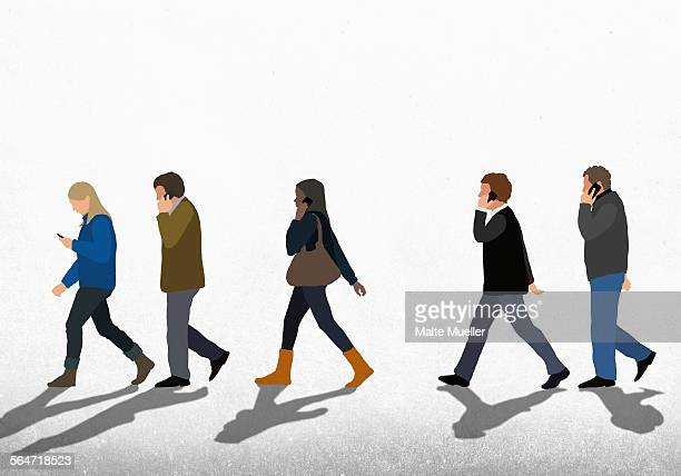 illustration of people using mobile phones while walking on street against clear sky - road stock illustrations