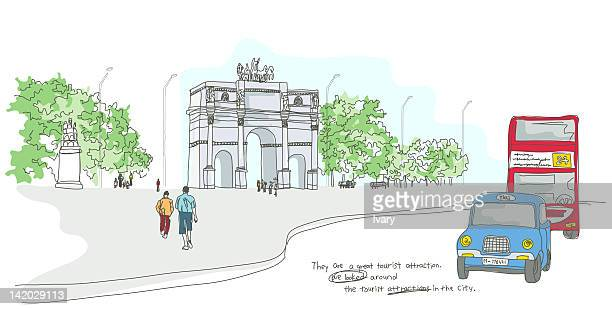 Illustration of people visiting famous place