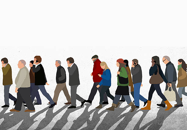 Illustration of people walking on street against clear sky