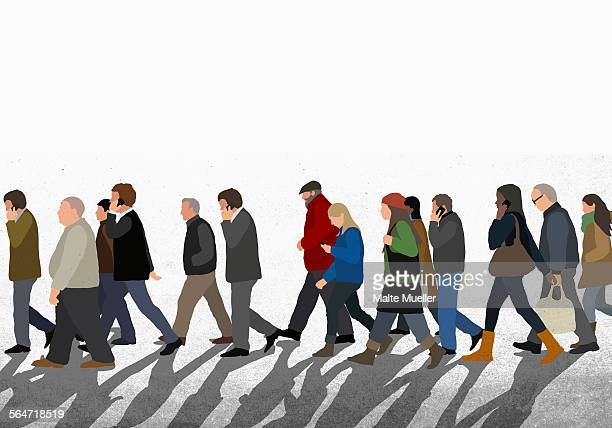 illustration of people walking on street against clear sky - large group of people stock illustrations