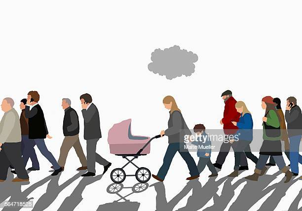 illustration of people walking on street against sky - large group of people stock illustrations