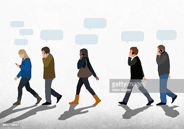Illustration of people with speech bubbles using mobile phones while walking on street against clear