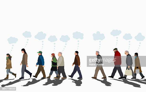 ilustraciones, imágenes clip art, dibujos animados e iconos de stock de illustration of people with thought bubbles walking on street against clear sky - hombre pensando