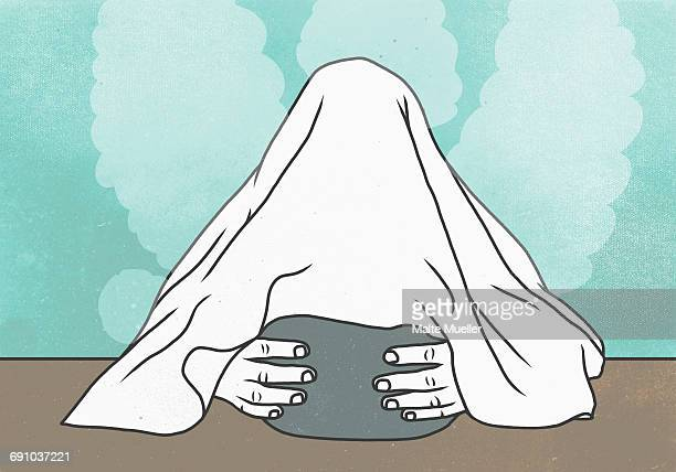 Illustration of person covering face with container amidst stream representing cold and flu