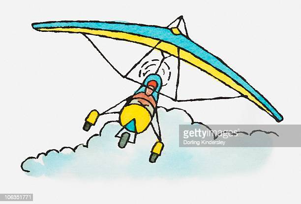 illustration of person flying microlight above clouds - obscured face stock illustrations, clip art, cartoons, & icons