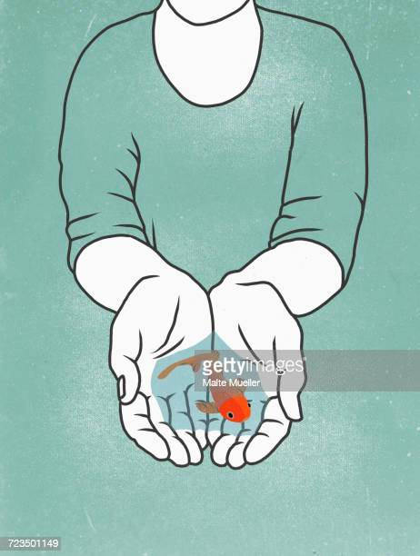 Illustration of person holding fish in hands against colored background