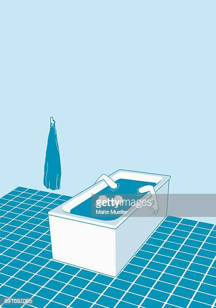 ilustraciones, imágenes clip art, dibujos animados e iconos de stock de illustration of person in bathtub depicting suicide - suicidio