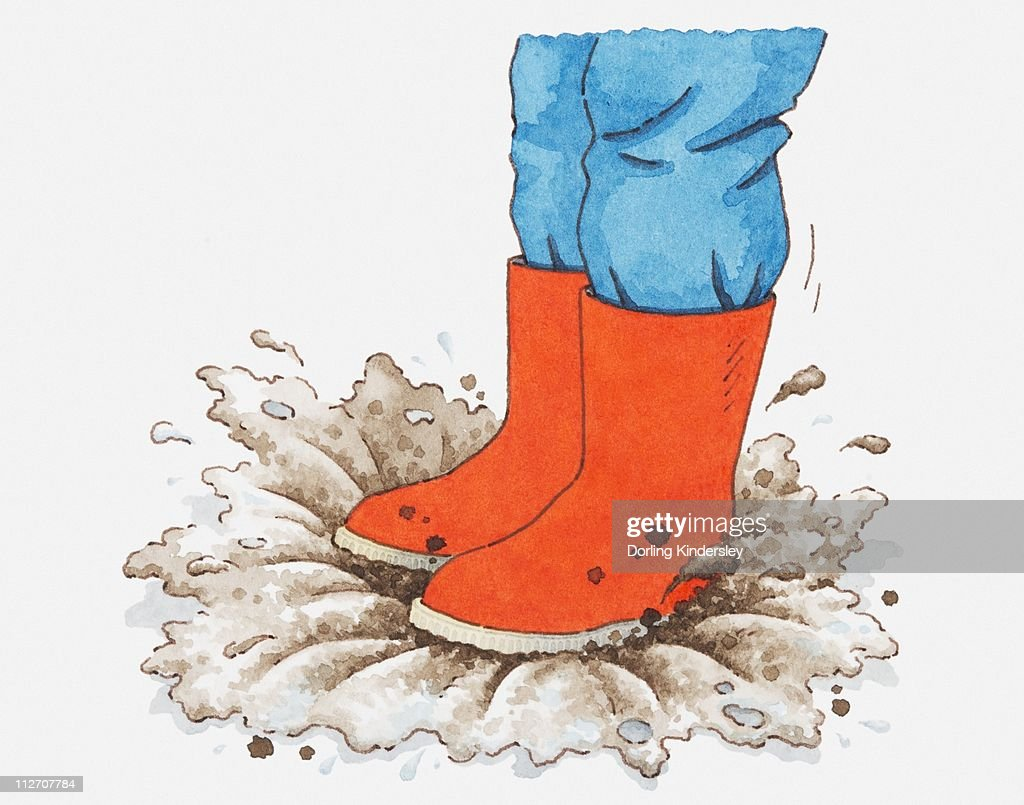Illustration Of Person In Red Wellington Boots Stepping Into