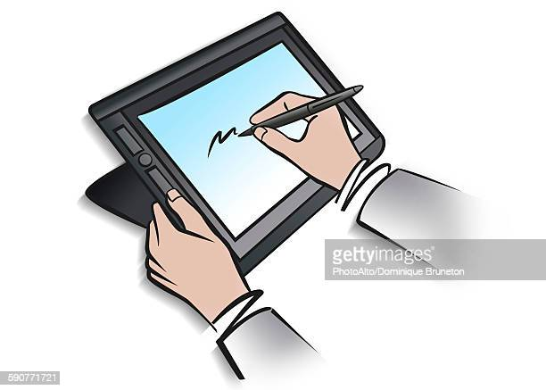 illustration of person using digital tablet and stylus - touch sensitive stock illustrations