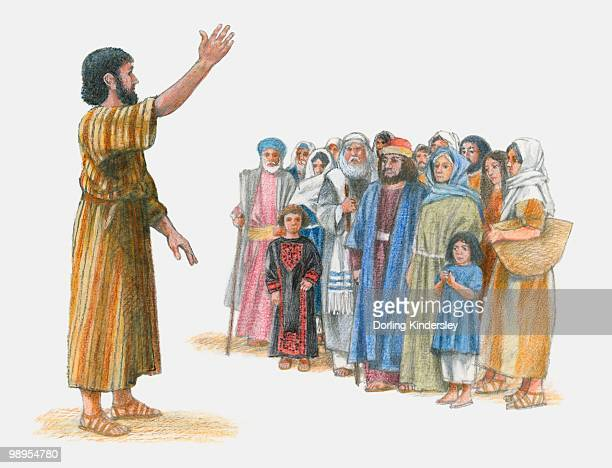 Illustration of Peter preaching to group of people with one arm raised