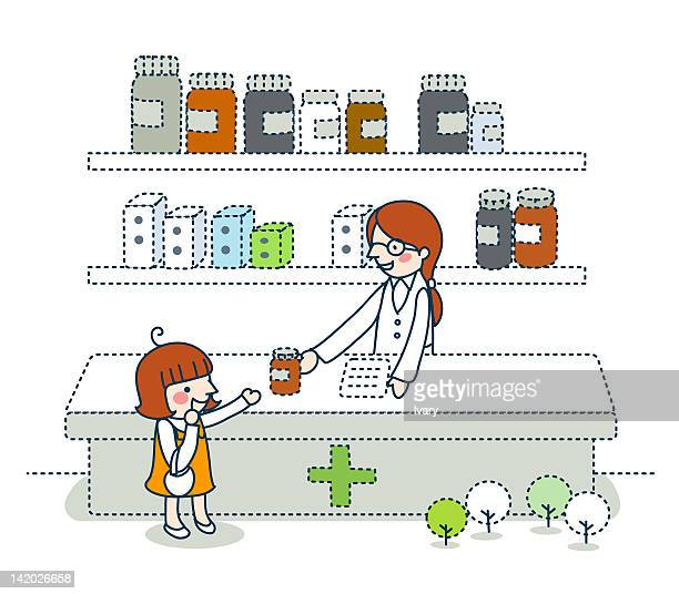 Illustration of pharmacist giving medicine to a girl
